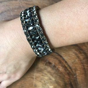 J Crew Charcoal Gray Rhinestone Stretch Bracelet